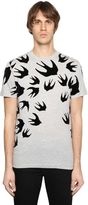 McQ by Alexander McQueen Swallow Printed Cotton Jersey T-Shirt