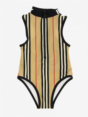 Burberry Swimsuit With Logo And Striped Pattern