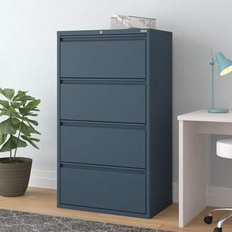 "4 Drawer Lateral Filing Cabinet Symple Stuff Size: 53.25"" H x 30"" W x 19.25"" D, Finish: Multi Granite"