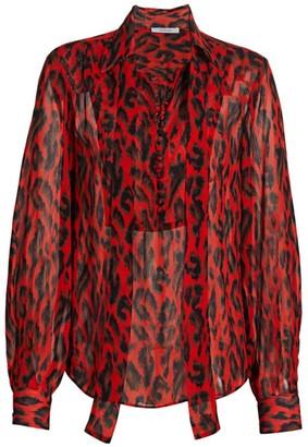 Derek Lam 10 Crosby Irene Abstract Leopard Blouse