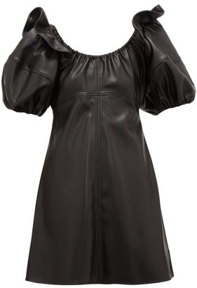Ellery Valeria Bubble-sleeve Faux-leather Mini Dress - Black