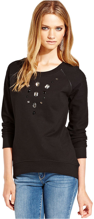 Pink Rose Juniors Top, Long Sleeve Faux-Leather-Trim Rhinestone Sweatshirt