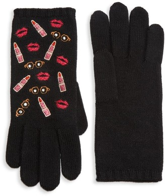 Carolyn Rowan Embroidered Lips, Lipstick & Sunglasses Wool Gloves