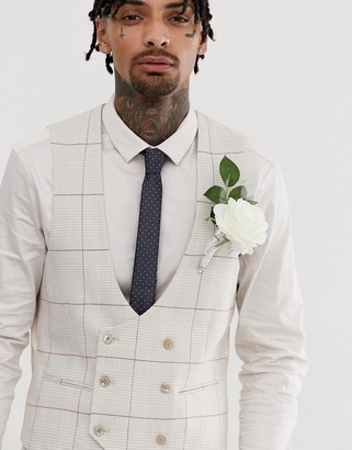 Gianni Feraud wedding skinny fit check curved double breasted waistcoat-White