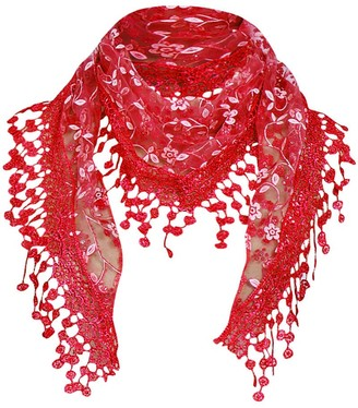 Gaddrt Women's Scarf Triangle Lace Veil Lightweight Tassel Sheer Fashion Floral Scarf Shawl Wrap Tassel Scarf Wraps for Ladies (Red)