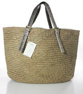 Beirn Beige Gray Straw Leather Trim Extra Large Tote Handbag New