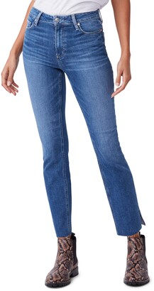 Paige Cindy High Waist Split Raw Hem Straight Leg Jeans