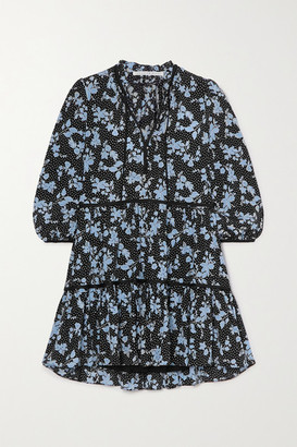 Veronica Beard Hawken Tiered Floral-print Silk-blend Mini Dress - Black