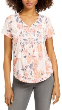Style&Co. Style & Co Plus Size Print Tie-Neck T-Shirt, Created for Macy's