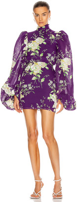 ATTICO Long Sleeve Floral Mini Dress in Violet | FWRD