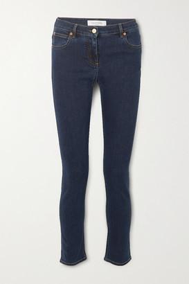 Valentino Cropped Mid-rise Slim-leg Jeans - Indigo
