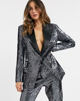 Asos DESIGN suit blazer in silver sequin and contrast collar