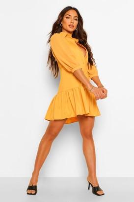 boohoo Chiffon Sleeve Smocked Shirt Dress