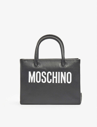 Moschino Logo-print mini leather cross-body belt bag