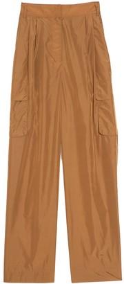 Tibi Nylon Pleated Cargo Pant in Brown Ochre