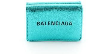 Balenciaga Logo Trifold Wallet Metallic Leather