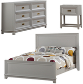 Gray Victoria Kids Full Size Panel Bed Set