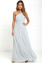 LuLu*s Looking Glass Navy Blue One-Shoulder Maxi Dress