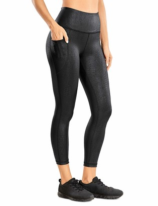 CRZ YOGA Women's Coated Faux Leather Legging High Waist Pants Workout Tights with Pockets -25 Inches Black Crocodile 16