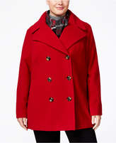 London Fog Plus Size Double-Breasted Peacoat with Scarf