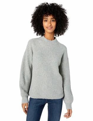 Goodthreads Amazon Brand Women's Boucle Half-Cardigan Stitch Balloon-Sleeve Sweater