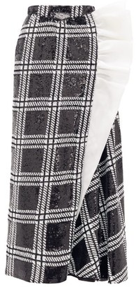 Rodarte Ruffled Checked Sequin Maxi Skirt - Womens - Black Silver