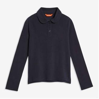 Joe Fresh Kid Girls' Uniform Long Sleeve Polo, Dark Blue (Size M)