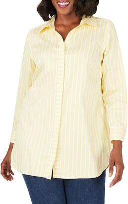 Foxcroft Vera Career Stripe Button-Up Shirt