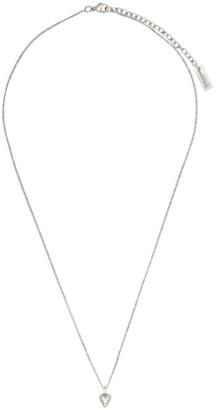 Saint Laurent Silver Mini Heart Charm Necklace