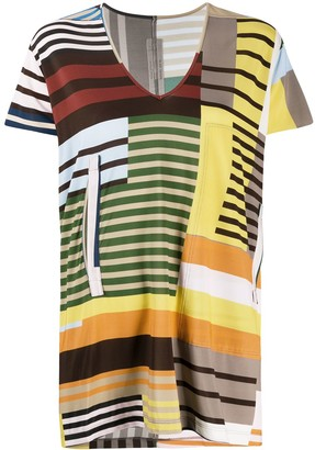 Rick Owens colour block V-neck T-shirt