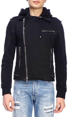 Balmain Jacket Full Zip Denim Jacket With Hood And Signature