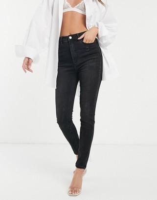 Stradivarius super high waist skinny jean in black