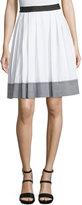 Diane von Furstenberg Dru Gingham-Trim A-Line Skirt, White/Black