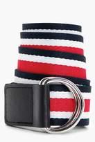 boohoo Natalie Multi Stripe Ring Fasten Belt red