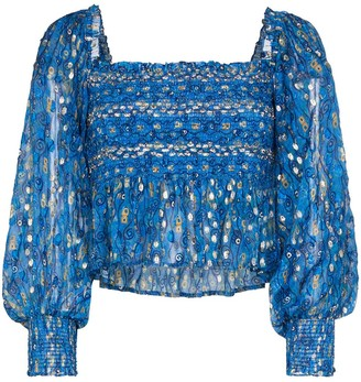 Rixo Eloise graphic print ruched top