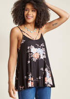 ModCloth As Far As You're Concert Tank Top in Black Floral in XL - Sleeveless A-line Waist