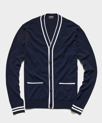 Todd Snyder Tipped Cardigan in Navy
