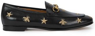Gucci Jordaan black embroidered leather loafers