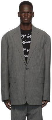Balenciaga Black and White Check Boxy Blazer