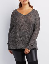 Charlotte Russe Plus Size Marled V-Neck Sweater