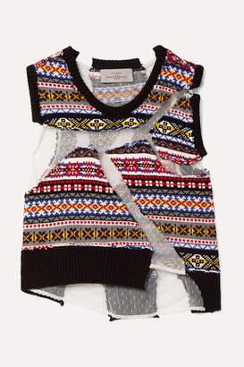 Preen by Thornton Bregazzi Paneled Intarsia Cotton And Point D'esprit Tulle Sweater - Black