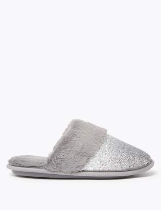 M&S CollectionMarks and Spencer Glitter Faux Fur Mule Slippers