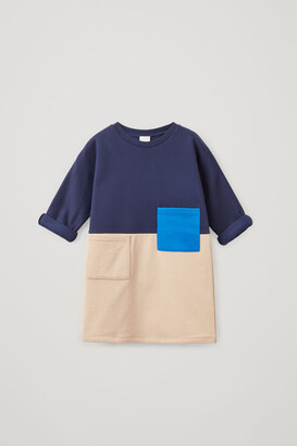 Cos Organic Cotton Colour Block Sweatshirt Dress