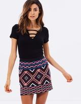 Miss Selfridge Embroidered A-Line Mini Skirt