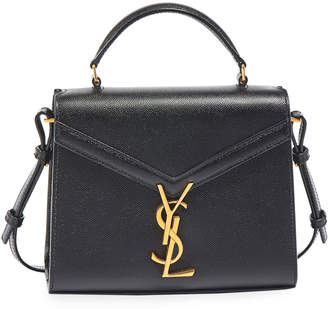 Saint Laurent Cassandra Small Monogram Grain Leather Top-Handle Bag
