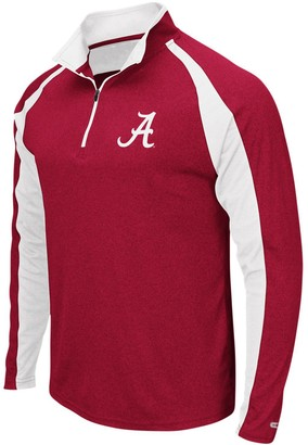 Colosseum Men's Heathered Crimson Alabama Crimson Tide The J. Peterman Quarter-Zip Pullover Jacket