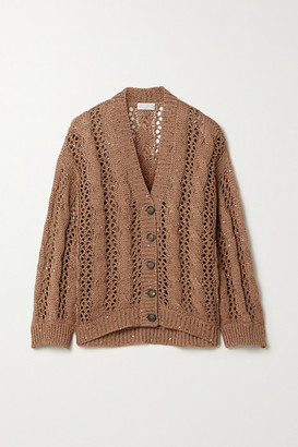 Brunello Cucinelli Sequin-embellished Cable-knit Cotton-blend Cardigan - Light brown