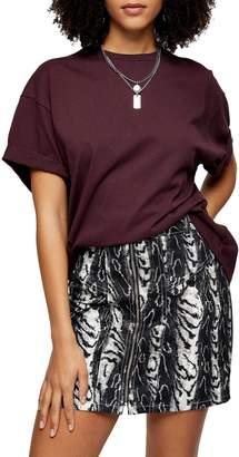 Topshop Burgundy Boxy Roll T-Shirt