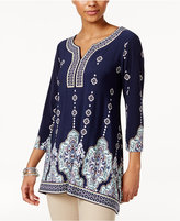 JM Collection Printed Handkerchief-Hem Tunic, Only at Macy's