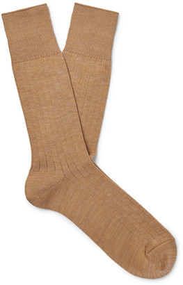 Mr P. Ribbed Cotton-Blend Socks - Men - Brown